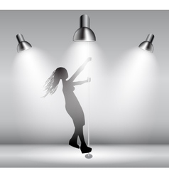 Silhouette of dancing striptease girl on pole vector