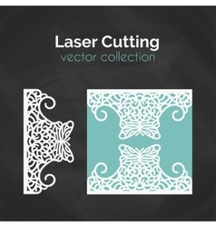 Laser cut card template for cutting cutout vector