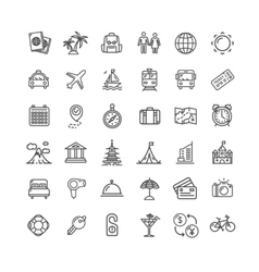 Travel Icon Thin Line Set vector image