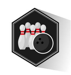 bowling sport emblem icon vector image