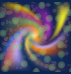 Abstract colorful twist shape with bokeh on blue vector