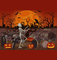 Halloween skeleton walking near the vector
