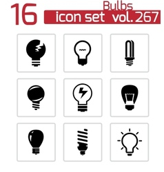 black bulbs icons set vector image