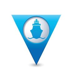 ship icon map pointer blue vector image