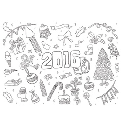 2016 year hand lettering and doodles elements icon vector image