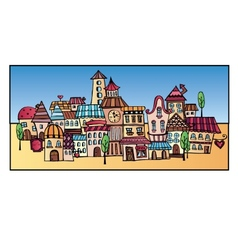 Cartoon drawing town vector