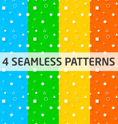 4 Seamless Geometry Patterns vector image