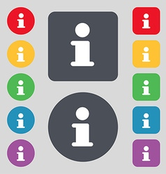 Information info icon sign a set of 12 colored vector