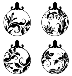 Black and white xmas balls vector