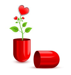 Red love drug pill vector