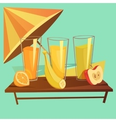 Healthy Drinks Cartoon Set vector image