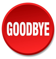 Goodbye red round flat isolated push button vector