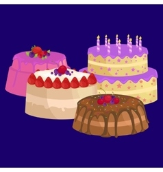Cake icon set birthday food sweet dessert vector