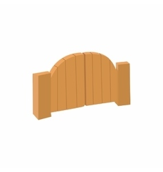 Wooden gate icon in cartoon style vector image