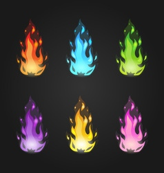 Set magic fire in different colors vector