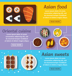 Asian food banner horizontal set flat style vector