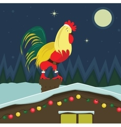 Christmas cock sitting on the roof vector