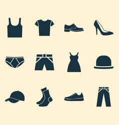 Clothes icons set collection of pants dress vector