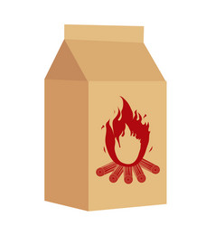 Coal in the package for bbq icon flat style vector