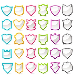 colorful shield collection vector image vector image