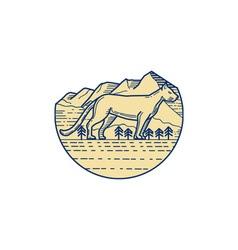 Cougar mountain lion tree mono line vector