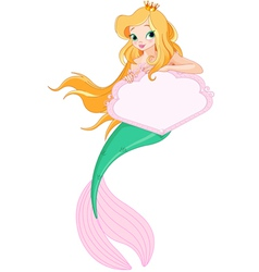 Cute mermaid holding sign vector