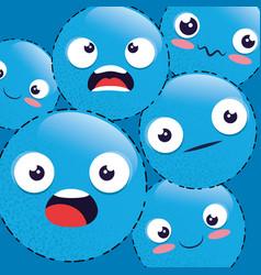 emoji emoticon seamless pattern background vector image