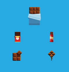 Flat icon chocolate set of cocoa sweet delicious vector