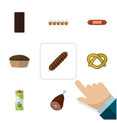 Flat icon food set of smoked sausage kielbasa vector