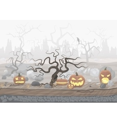 Fog day scary horror halloween background with vector image vector image
