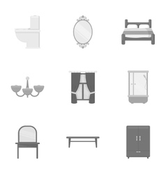 Furniture set icons in monochrome style big vector