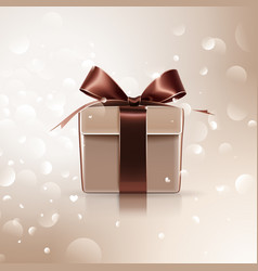 Gift with brown bow vector