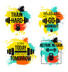 Gym and fitness motivation quote set vector