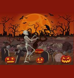 halloween skeleton walking near the vector image