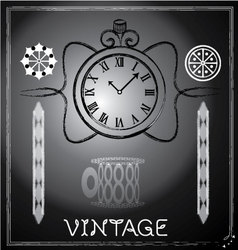 Hand drawn vintage watch and floral vector