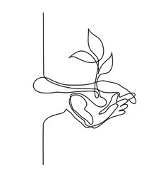 hands palms together with growth plant vector image vector image