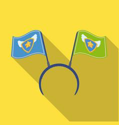 Headgear fan with flagsfans single icon in flat vector