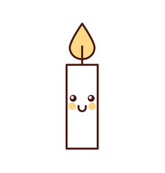 kawaii christmas candle cute decoration cartoon vector image