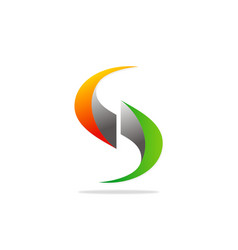 letter s 3d technology logo vector image