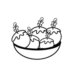 Line fresh and delicious vegetables inside of bowl vector