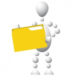 man with yellow folder vector image vector image