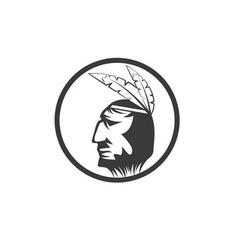Native American chief man in tribal headdress vector image