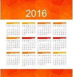 orange calendar 2016 vector image