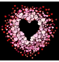 Red hearts round frame vector image