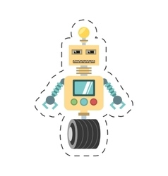 robotic technology bulb display worker cutting vector image