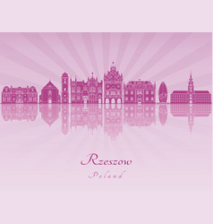 Rzeszow skyline in purple radiant orchid vector