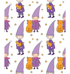 seamless pattern with cute gnome cat and bird vector image vector image
