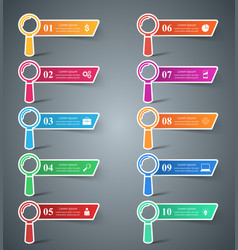 set 10 loupe infographic vector image