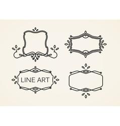 Set of floral monogram frames line art elements vector