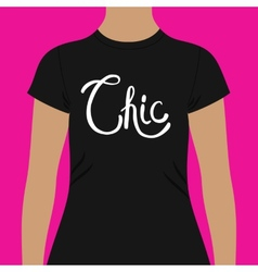 Simple black shirt template with chic text vector